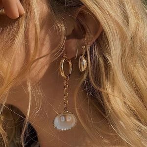 Gold or Silver Drop Cowrie Shell Earrings